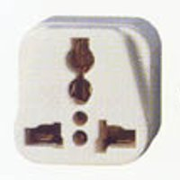 front view of generic adapter to use plugs type A, B, C, D, E, F, G, H, I, J, K, L, N from United States of America in outlets type M from India