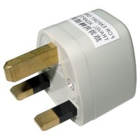 back view of generic adapter to use plugs type A, B, C, D, E, F, I, M from South Africa in outlets type G from Indonesia