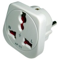 front view of generic adapter to use plugs type A, B, D, G, I, M from South Africa in outlets type C, E, F, L from Indonesia