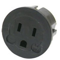 front view of generic adapter to use plugs type A, B from Canada in outlets type C, E, F, L from Indonesia