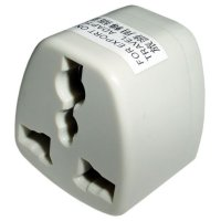 front view of generic adapter to use plugs type C, D, E, F, G, M from Guadeloupe in outlets type A, B from Costa Rica