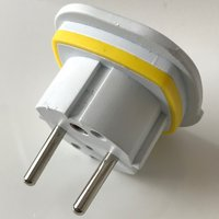 back view of generic adapter to use plugs type G from Zimbabwe in outlets type E from Monaco